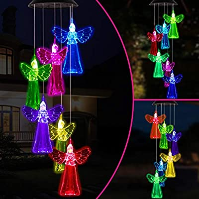 Color Changing Angel Solar Wind Chimes Gift Portable Waterproof Mobile Romantic Solar Powered Windchime Outdoor Hanging LED Solar Angels Wind Chime Light for Festival,Mom Gifts,Patio,Garden Decoration