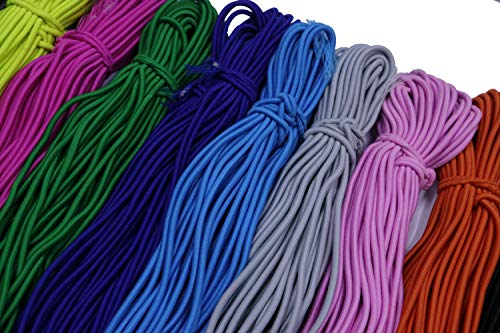 YYCRAFT 30 Yards Heavy Stretch Round String Elastic Cord for Mask String 1/8-Inch (3mm) Mix Color