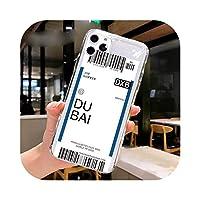 Fundas For Apple iPhone 11 12 Pro Max 7 8 Plus 12mini SE2020ケースカバーソフトTPUエアチケットレターラベルカントリーフォンケース -27-For iPhone 12Pro Max