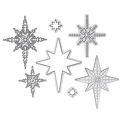 FEIDAjdzf Scrapbook DIY plantilla de estrella de ocho puntas troquelado tarjeta de repujado Stencil Craft Tool – plata