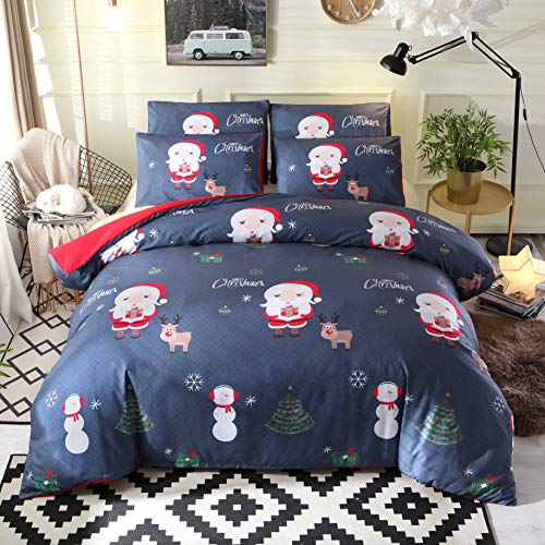 MTSJZ Fawn Reindeer Christmas Style Luxurious Duvet Cover Sets, Christmas Fun with Santa, Pillow Cover with Zipper for Family Hotel Supplies (blue, Single)