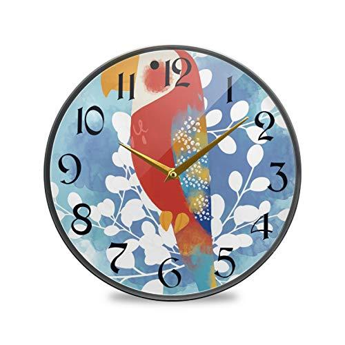 ART VVIES Reloj de Pared Redondo de 9,5 Pulgadas Que no Hace tictac silencioso Funciona con Pilas Oficina Cocina Dormitorio decoración del hogar-Loro Rojo