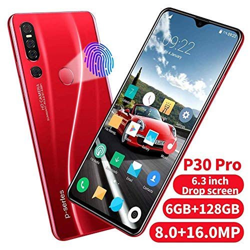 FLKENNEL P30 Smartphone Android 9.1 4800mah batería, Pantalla de 6,28 '' HD + MAX Vision, cámaras de 16MP y 8 megapíxeles, 6 GB de RAM, 128 GB, Dual SIM