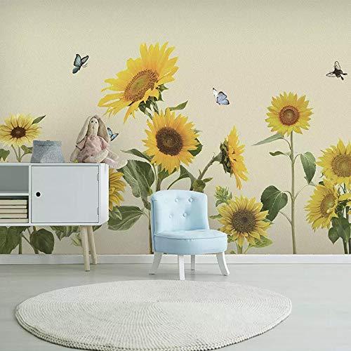 Nordic hand beschilderde zonnebloem kinderkamer achtergrond muur papier Origami vliegtuig warme muurschildering niet-geweven behang 3D behang behang plakken woonkamer plakken de muur 250cm×170cm