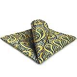 shlax&wing Pañuelo de bolsillo para hombre azul amarillo paisley grande
