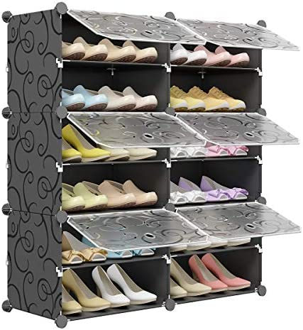 KOUSI Portable Shoe Rack Organizer 24 Pair Tower Shelf Storage Cabinet Stand Expandable for product image