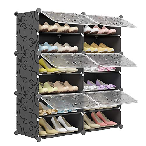 KOUSI Portable Shoe Rack Organizer 24 Pair Tower Shelf Storage Cabinet Stand Expandable for Heels, Boots, Slippers 6 Tier Black