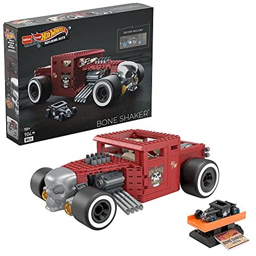 Mega Construx Hot Wheels Bone Shaker Coche de juguete de bloques de construcción, incluye figura, para niños +5 años (Mattel HBD50)