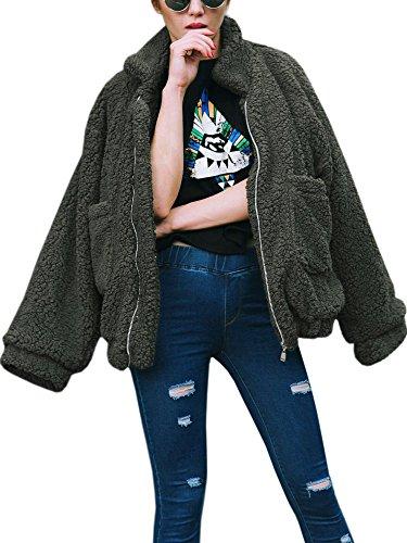 ECOWISH Damen Mantel Revers Faux Für Lose Langarm Outwear Tasche Reißverschluss Winterjacke Mode Kurz Coat Grün S