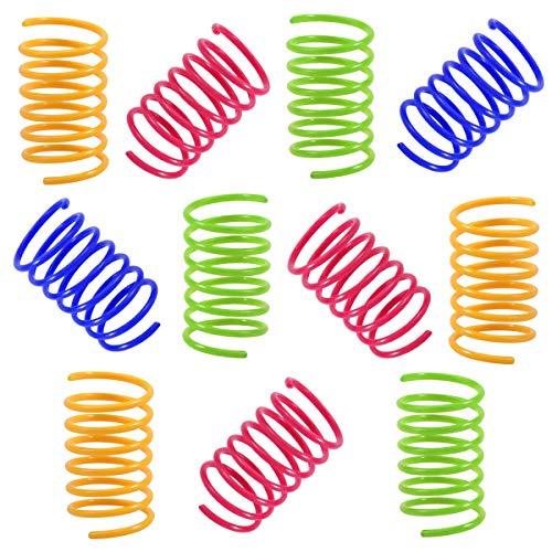 NATUCER Juguete Colorido Interactiva para Gato, Muelles en Espiral de Plástico para Mascotas, multicolor, 12 piezas