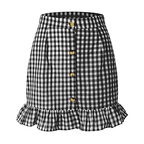 Falda con Volantes A Cuadros De Verano para Mujer, Falda De Cintura Alta con Botones De Un Solo Pecho, Falda A...