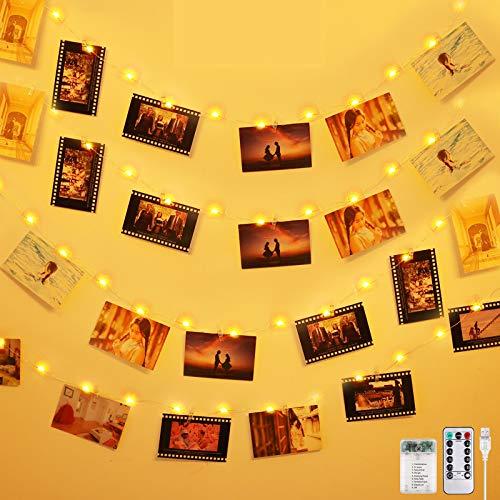 Anpro 50 LED Fotoclips Lichterkette Photoclips 5M, USB Powered 8 Beleuchtungsmodi 10 Wandnägel mit Fernbedienung für Foto Bilder Karten, Warmweiß