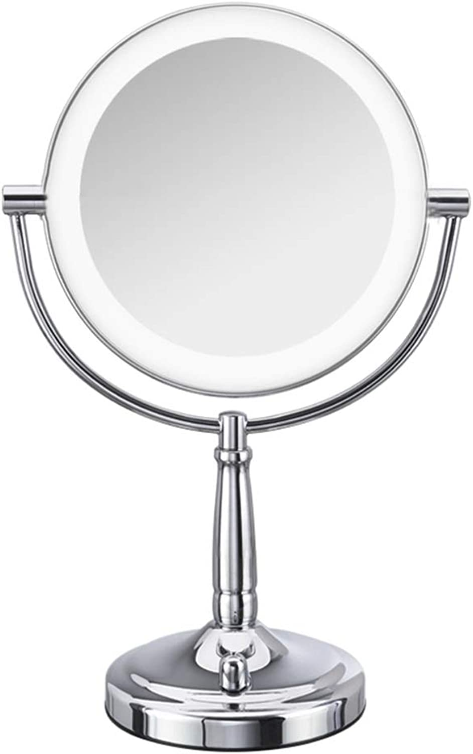Makeup Mirror with Lights and Magnification Rechargeable, Double Sided HD Button 360 Degree Free redation for Bathroom (Size   8 inches)