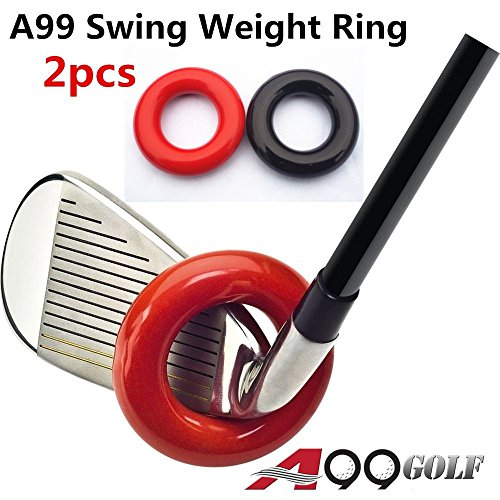 A99 Golf Club Weighted Swing Ring - Swing Warm-Up Tool, Warm Muscles (Red + Black (2pcs))