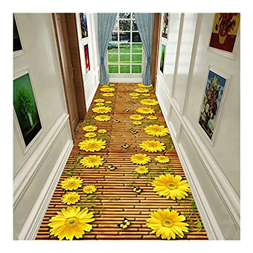 ditan CnCnCn 3D Sunflower Pattern Corridor Carpet Entrance Corridor Bedroom Can Be Cut (Color : A, Size : 80x400cm)