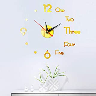 KHE 3D DIY Wall Clock, Frameless Creative Acrylic DIY Wall Sticking Watches, Wall Clocks Decorative for Living Room Bedroo...