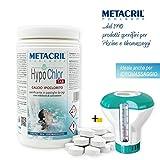 Metacril Fútbol Hipoclorito 65% en Pastillas de 7 g. - HypoChlor Tab 1 kg. + Dosificador con termómetro Ideal para Piscina e hidromasaje (Teuco, Jacuzzi, Dimhora, Bestway, Intex)