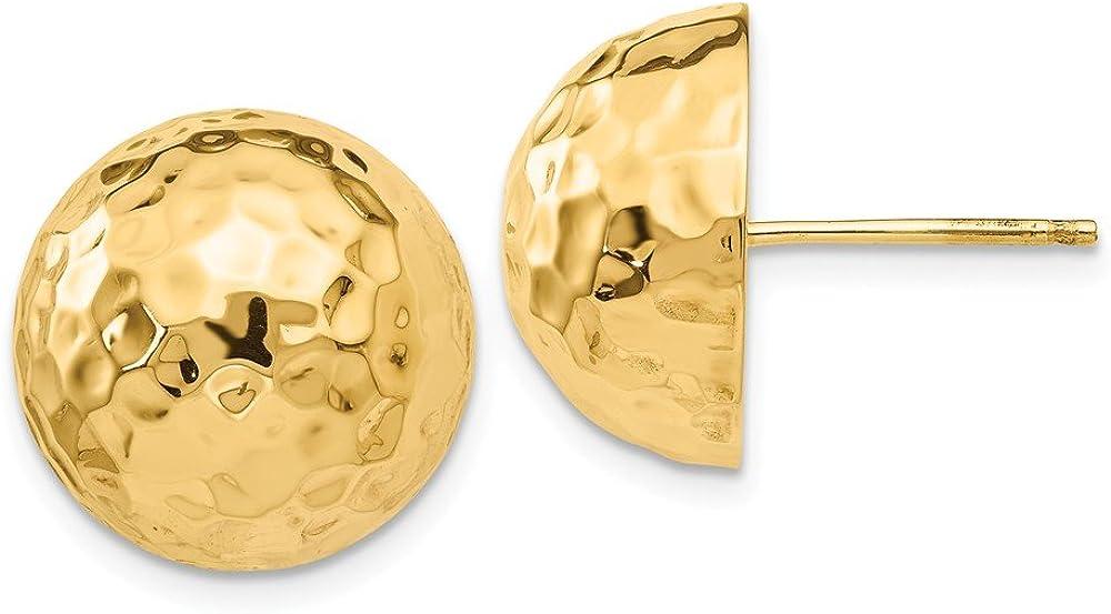 14K Yellow Gold Hammered Half Ball Post Earrings E929