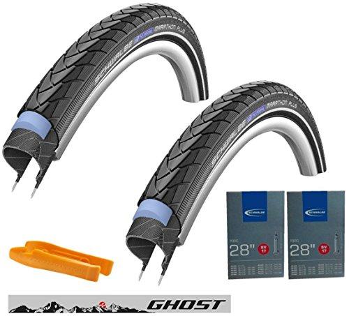 Schwalbe Reifen 40-622 Marathon Plus Set: 2x Fahrradreifen für Trekking- und Crossbikes, inkl. 2x Schwalbe Schlauch SV17, inkl. SKS Reifenheber