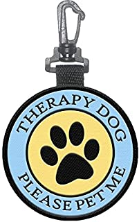 WORKINGSERVICEDOG.COM Therapy Dog Clip on Identification Hanging Patch Tag – Clips onto a Therapy Dog Vest, Harness, Collar, Leash or Carrier.