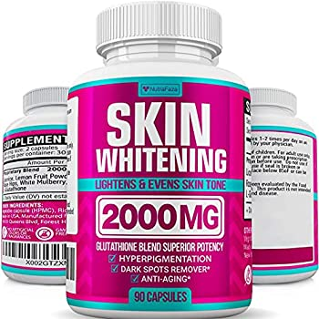 Glutathione Skin Whitening Pills - Vegan Skin Bleaching Pills for Dark Spots Acne & Scar Removal - Made in USA - Natural Glutathione Supplement with Anti-Aging Properties