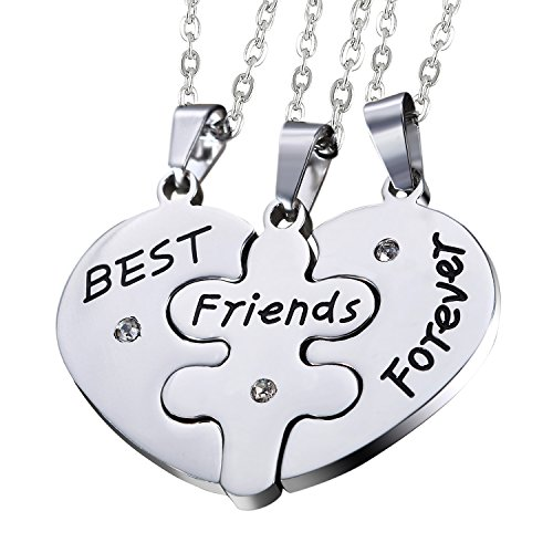 Oidea Sets of 3pcs Stainless Steel Friendship Best Friends Forever Messages Puzzle Necklaces, with Chains Included