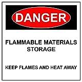 BCTS Segnale di avvertimento pericolo di materiali infiammabili stoccaggio alluminio cartello riflettente in metallo latta segno quadrato 30,5 x 30,5 cm