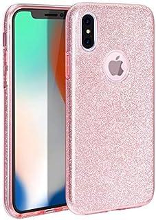 iPhone XS Hülle, iPhone X Hülle, MILPROX Glitzer Schutzhülle [DREI Schicht Hybridstruktur] Slim Kristallklar schützende Hülle, kompatibel mit iPhone X/Xs   Pink