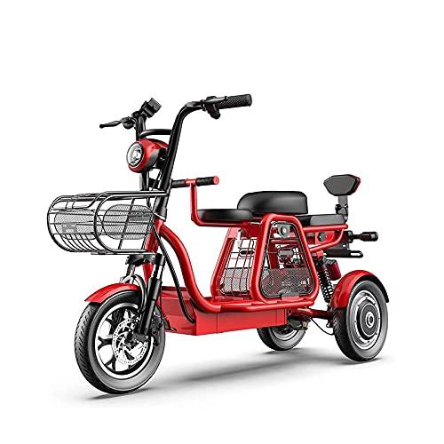 Bicicleta eléctrica, Scooter de Movilidad de Viaje de 12 Pulgadas y 3 Ruedas, Bicicleta eléctrica con absorción de Impactos múltiples Canasta de Almacenamiento para discapacitados y Personas,Rojo
