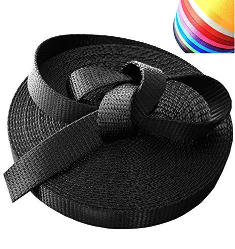 hochwertiges Nylon Gurtband | 10 Meter 25mm Breit | schwarz | trocknet schnell | ideal zum Handwerken/Basteln (z.B. Hundeleinen, Handtaschen) - extra weich - hochwertiges Nylon - PA, Polyamid, DIY