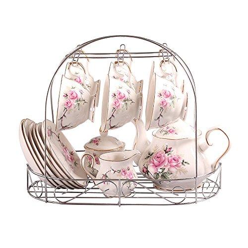 Tee-Set Europäischen Stil Porzellan, Golden Kamelie Gedruckt Keramik Porzellan Teetasse Mit Deckel Und Untertasse Set,Metall-Inhaber auf dem Bild sind nicht inbegriffen