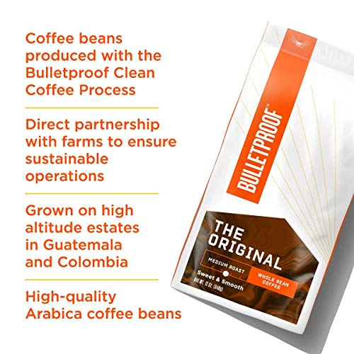 The Original Whole Bean Coffee, Medium Roast, 12 Oz, Bulletproof Keto Friendly 100% Arabica Coffee, Certified Clean Coffee, Rainforest Alliance, Sourced from Guatemala, Colombia & Brazil