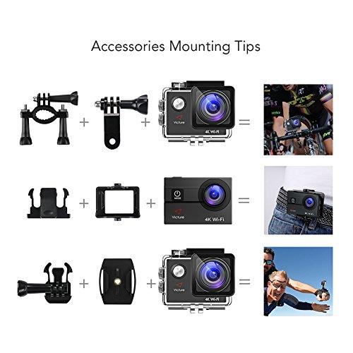 Victure Action Cam 4K Wifi fotocamera subacquea 16 MP Ultra HD Sport Camera casco impermeabile per moto bicicletta equitazione con 2 batterie migliorate e kit di accessori gratuiti
