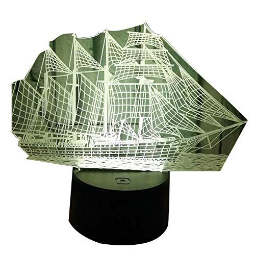 CUHAWUDBA Die Schwarze Perle Schiff Boot 3D Nacht Licht Acryl LED Lampe 7 Farben ?Ndern Nacht Spielzeug für Kinder Weihnachts Geschenk
