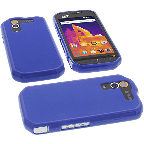 foto-kontor Tasche für CAT S60 Hülle Gummi TPU Schutz Handytasche blau