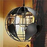 ブラッククリエイティブロフトコンチネンタルシングルレトログローブシャンデリアモダンメタリックラウンジカフェカジュアルシーリングランプ