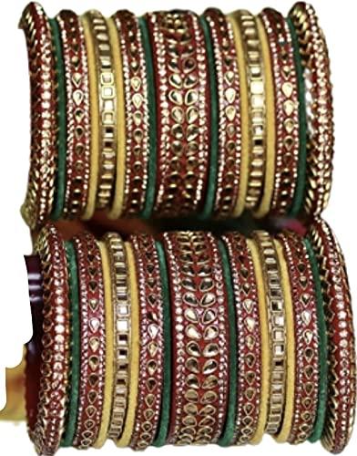 CRAFTING LOVE Un hermoso juego de pulsera para novia, Rajasthani Rajputi Chuda/Choora / Brazalete perfecto para bodas, recepciones, ceremonia de anillos