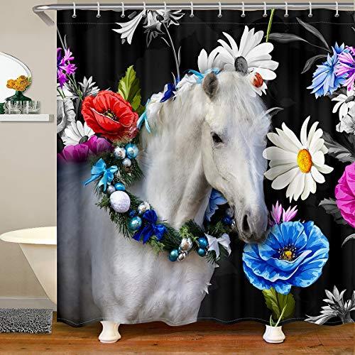 Loussiesd 3D Weiß Pferd Stoff Duschvorhang 180x200cm Galoppierende Pferde Wasserdichtes Duschvorhang Textil für Jungen Gänseblümchen Zubehör Mit Haken Wilde Tier Farmhouse