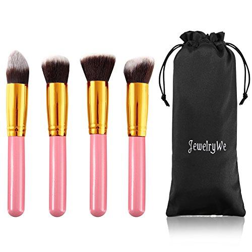 JewelryWe 4PCS Professionnel Pinceaux-Brosse de Maquillage Brush Cosmétique Beauté & Make-up Rose Or Ombre à Paupière