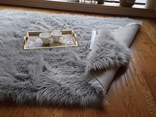 N/ JXBDT - Cojín Ovalado de Lana de Peluche para sofá, Dormitorio, Cama, balcón, balcón o balcón con Cristales, Manta, Mesa Baja, 140 x 200 cm, Ovalado Gris