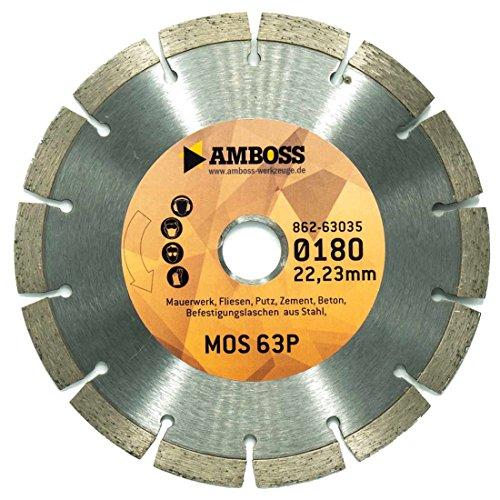 Amboss MOS 63P - Diamant-Trennscheibe - Montagefräsen Fein MF14-180, Lamello Tanga Delta H/S2, Würth FF180 - Mauerwerk/Fliesen/Putz/Beton | Ø 180 mm x 22,2 mm | Segmenthöhe: 10 mm (gesintert)