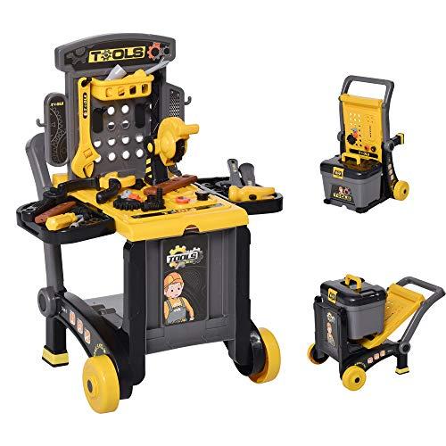 HOMCOM 3-in-1 Multi-Werkbank mit Werkzeugkoffer mit 60 Zubehören Kinder Arbeitstisch Werkbanktisch Kinderbank Spielzeug Gelb+Schwarz 59,7 x 47 x 42,5 cm