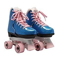 ADJUSTABLE: Perfect roller skates for growing kids who love to skate! Features an easy push button with adjustable sizing to accommodate growing feet DURABLE: Reinforced figure style boot with durable synthetic patent leather construction INDOOR AND ...