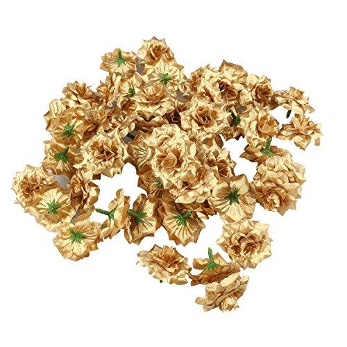 Luoem - Flor artificial dorada, de seda: Cabezas de rosas para decorar bodas, sombreros, vestidos, álbumes; en paquete de 50 unidades