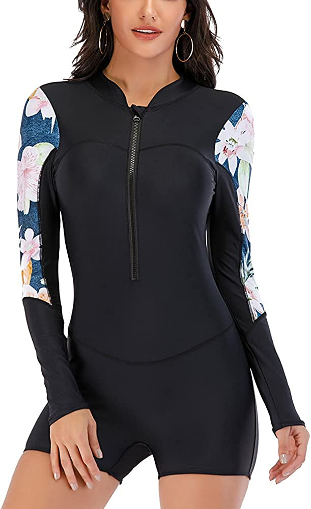 La SophiaLA Womens Rash Guard UPF 50+ Long Sleeve Swim Shirt One Piece Bathing Suit Swimsuit (Black,X-Large,X-Large)