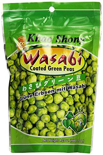 Khao Shong Geröstete grüne Erbsen mit Wasabi, knackige Erbsen im scharfen Teigmantel, fettärmere Alternative zu Nüssen, mittlere Schärfe, 1 x 120 g Standbeutel