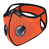 Landgift Sport Mask Reusable Activated Carbon Dustproof Respirator Mask Respirator Activated Carbon Sports Mask Filter Bicycle Mask Mountain Bike Riding Mask (Orange-1)