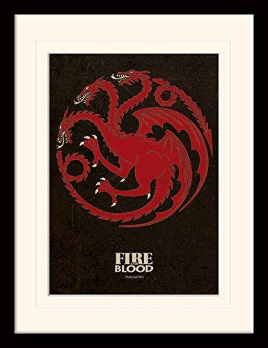 Piramid International Game of Thrones (Targaryen) 30x40 cm gemonteerd en ingelijst, Mounted 250GSM PAPERWRAP MDF, meerkleurig, 44 x 33 x 4 cm