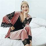 Pijama de Terciopelo Dorado para Mujer otoño e Invierno cálido Pijama Conjunto Pijama de Encaje para Mujer sin Mangas Honda Pijama Bata 4 XXL