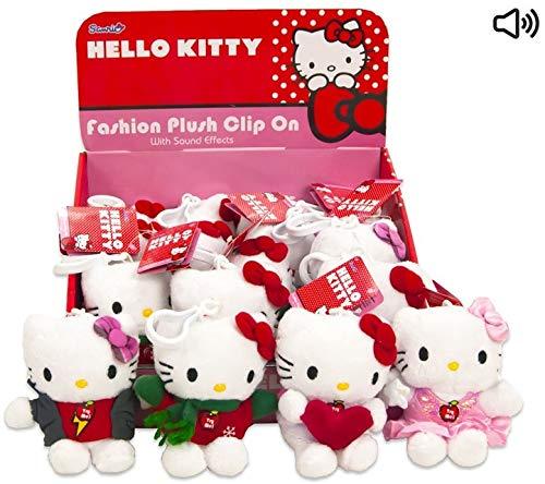 Familienkalender Plüschtier Anhänger mit Sound, kompatibel zu Hello Kitty | Kuscheltier | Plüschtier | Geschenk für Kinder | Mädchen | Jungen | Spielzeug mit Ton | Katze | Cat (Rockstar)
